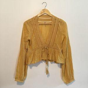 Free People Yellow Long Sleeve Tassel Crop Blouse